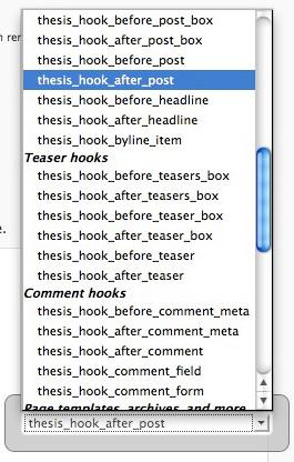 Mit Hilfe des OpenHook Plugin in den gewünschten Bereich im Thesis Theme einfügen