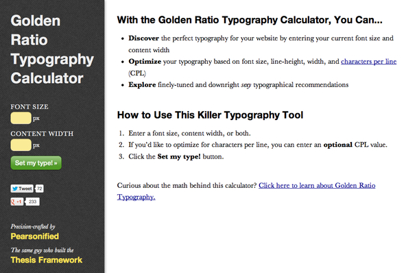 Golden Ratio Typographie Calculator im Thesis SEO Theme für WordPress