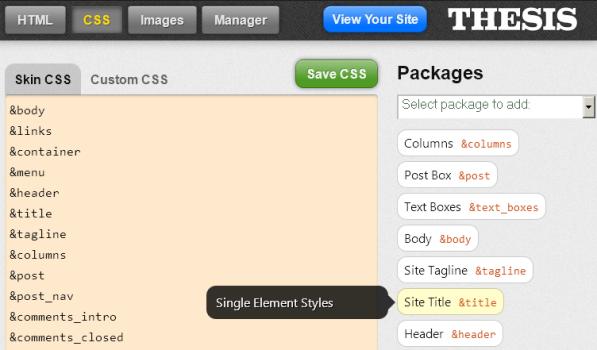 CSS anpassen im Skin Editor von Thesis