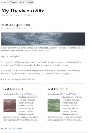 Thesis 2.0 Seite mit zweispaltigen Teasern