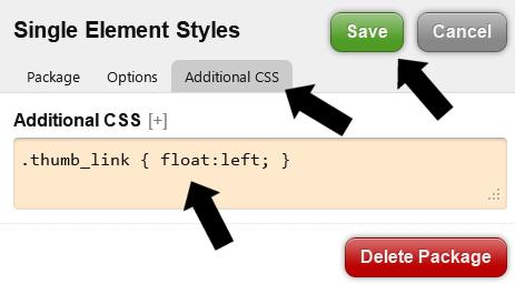 Erstellen der Teaser mit zusätzlichem CSS Tab eines custom Package