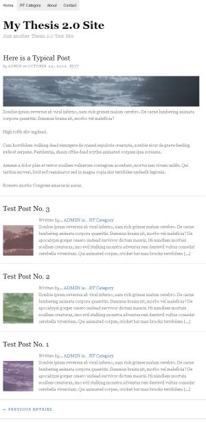 Thesis 2.0 Seite mit einspaltigen Teaser und Thumbnails
